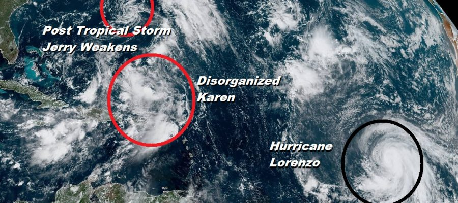 Tropical Storm Karen Disorganized Hurricane Lorenzo Will Become a Major Hurricane Central Atlantic