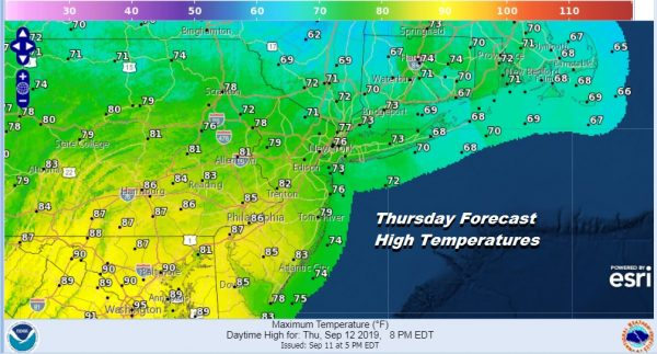 Thursday Forecast High Temperatures