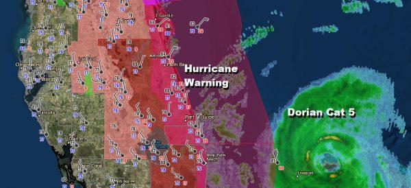 Hurricane Dorian Crawling Over Grand Bahama Warnings Continue Parts of Florida