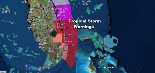 Hurricane Warnings NW Bahamas Tropical Storm Warning Deerfield Beach to Sebastian Inlet Florida