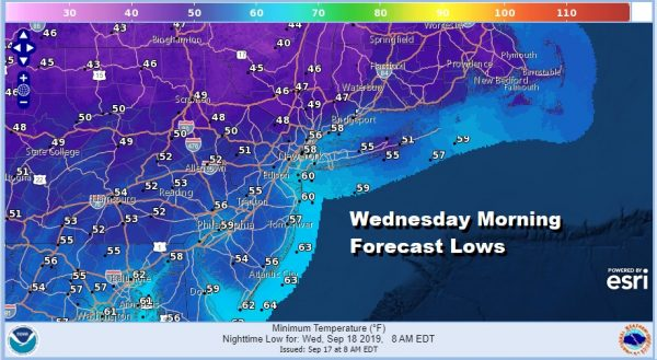 Wednesday Morning Forecast Lows