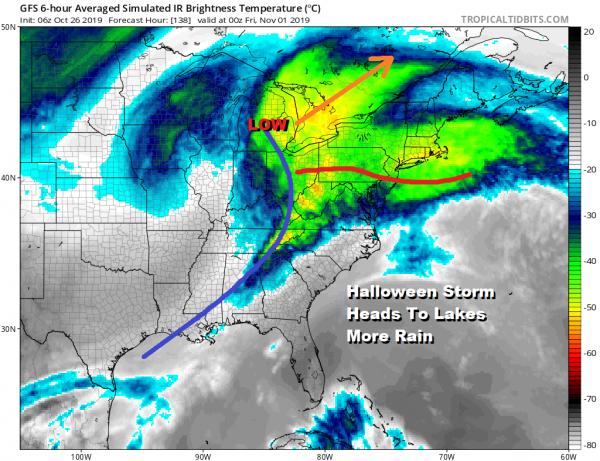 Halloween Storm Heads To Lakes More Rain