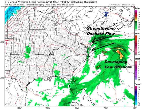 Showers Tonight Onshore Flow Coastal Storm Creates Uncertainty Rest of the Week