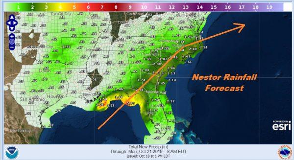 Tropical Storm Nestor Tropical Storm Warnings East Gulf Coast
