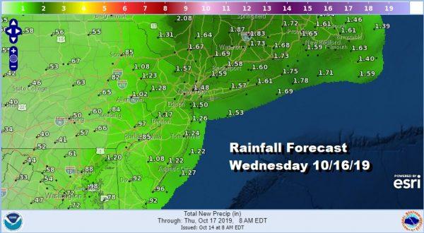 Rainfall Forecast Wednesday 10/16/19