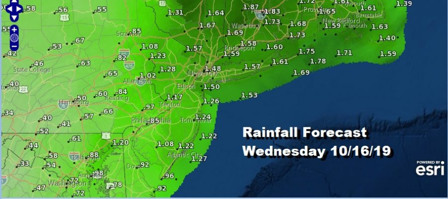 Rainfall Forecast Wednesday 10/16/19
