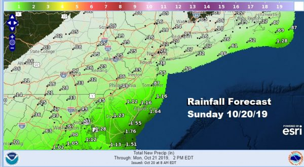 Rain Moving Northeastward Sunday Afternoon Evening Dry Monday Showers Tuesday