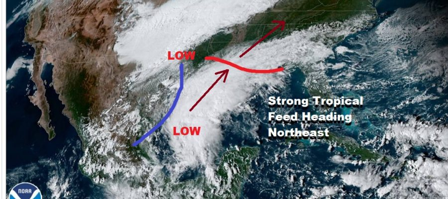 Strong Tropical Feed Heading Northeast