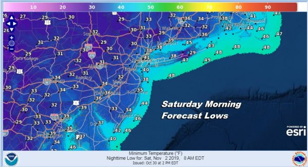 Saturday Morning Forecast Lows