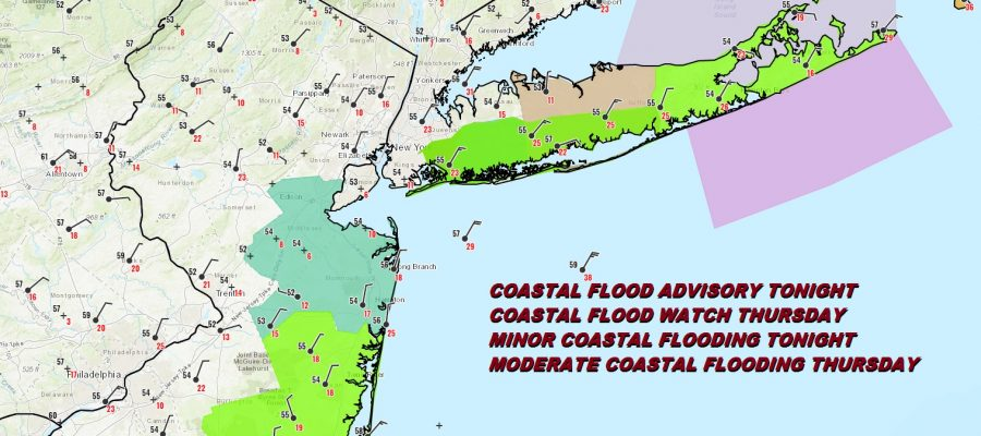 Coastal Flood Watch New Jersey Long Island Wind Advisory Eastern Half of Long Island