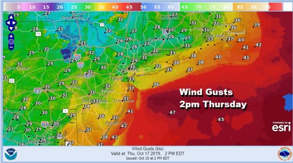 Wind Gusts  2pm Thursday