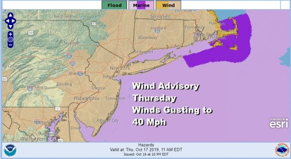Wind Advisory Thursday Storm Moves Through New England