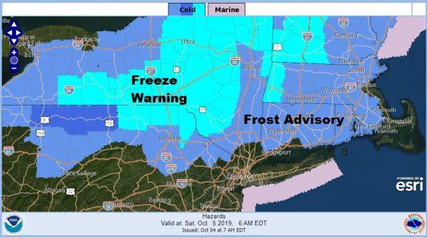 Frost Advisory Northwest New Jersey Hudson Valley