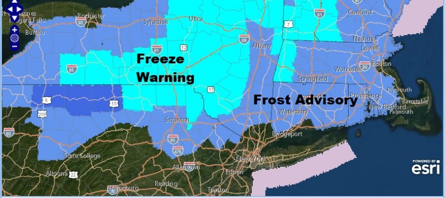 Frost Advisory Northwest New Jersey Hudson Valley