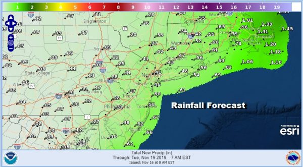 Coastal Flood Watch Cold Returns Gusty Winds Highs 30s Rain Chance Waits Until Monday