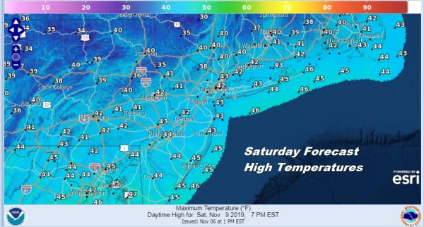 Saturday Forecast High Temperatures