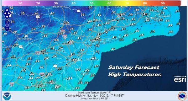 Saturday Forecast High Temperatures