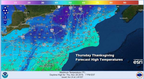 Thursday Thanksgiving Forecast High Temperatures