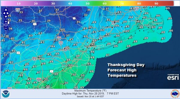 Thanksgiving Day Forecast High Temperatures
