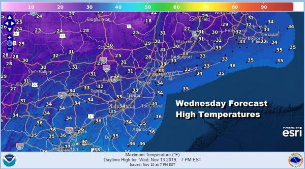 Wednesday Forecast High Temperatures