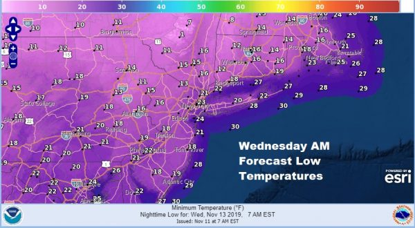 Arctic Cold Front Quick Burst Mix Snow Near Record Lows Wednesday Morning