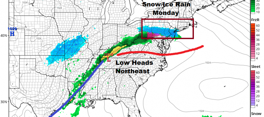 Heavy Rains Moving Northeast Shower On & Off Dry Sunday Snow Ice Rain Monday