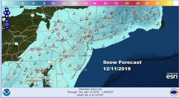 Winter Weather Advisory NYC Northeast NJ Counties Westchester County Long Island Connecticut