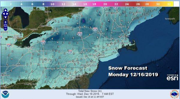 No Winter Weather Advisories Snow Coating to 2 Inches Then Ice Monday Night Rain Immediate Coast