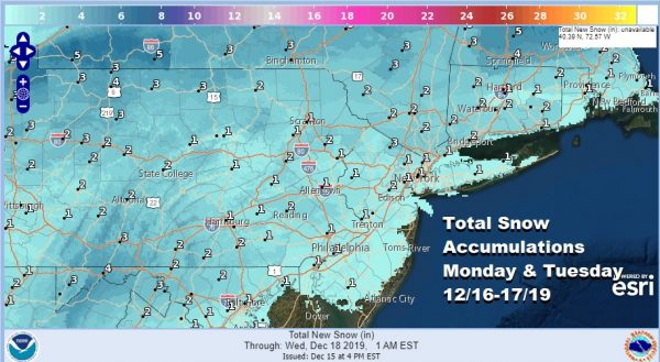 Winter Weather Advisories South Central Pennsylvania to Southern New England NW of I-95