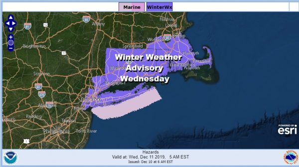 Winter Weather Advisory NYC Long Island Connecticut Northeast Counties of New Jersey Westchester County