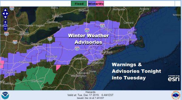 Winter Weather Advisory Snow Ice Tonight into Tuesday Morning
