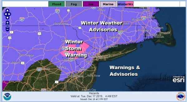 Winter Storm Warning NW New Jersey Advisories Expanded NE NJ, Significant Icing Inland
