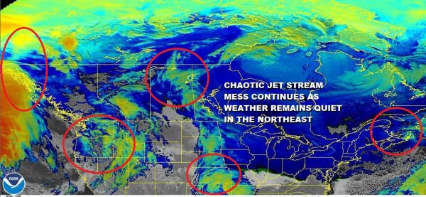 Chaotic Jet Stream Mess Continues As Does Quiet Weather Pattern