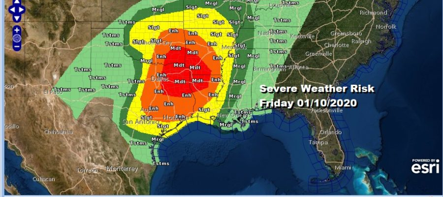 Severe Weather Risk Friday 01/10/2020