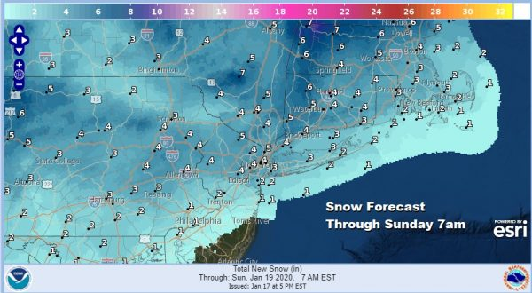 National Weather Service Snow Forecast Maps Saturday 01182020