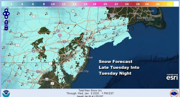 Another Chance for Snow Late Tuesday Tuesday Night Southeast Pa to Southern New England
