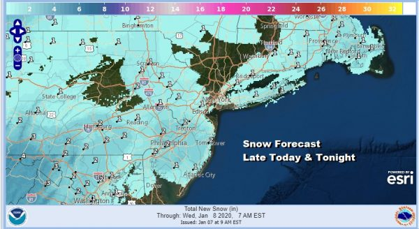 Snow Late Today & Tonight Northern Virginia to Southern New England