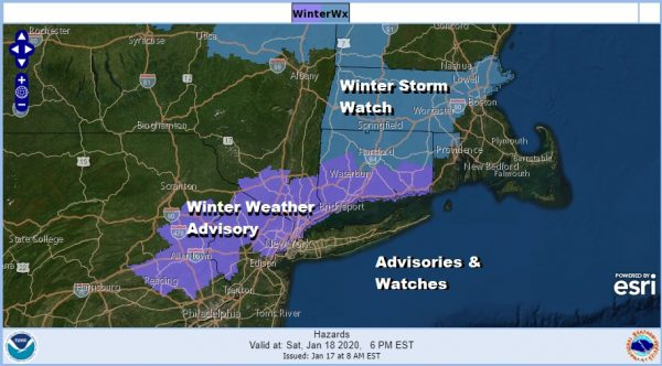Winter Weather Advisory Northern New Jersey NYC, Hudson Valley Connecticut