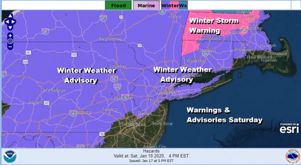 Winter Weather Advisories Eastern Pennsylvania Northern New Jersey NYC Hudson Valley Long Island Connecticut
