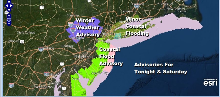 Winter Weather Advisory NW New Jersey NE Pennsylvania Coastal Flood Advisory NJ Shore