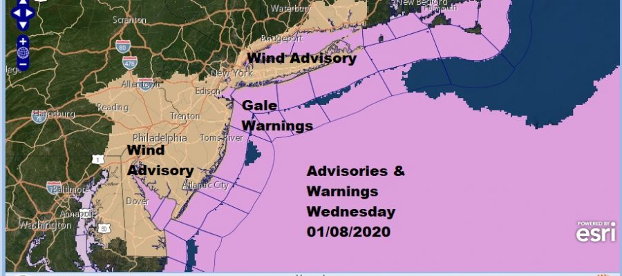 Winter Weather Advisory New Jersey RT 195 South Wind Advisory Wednesday