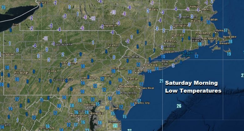 Temperatures Bounce Higher Next Chance for Rain or Showers Tuesday This morning we woke up to the coldest temperatures of the month and the coldest temperatures of the winter season across the Northeast and Northern Mid Atlantic states. Lows bottomed in the low teens and single digits in the urban corridor and we bottomed below zero north in Upstate NY and well below zero in double digits in Northern New England.  This was no doubt a fast shot of cold air that is now moving out. We managed to recover back into the 30s in most places this afternoon. Warmer air is arriving ahead of a weak cold front that will pass through Sunday night. High clouds are already arriving and that will help keep temperatures up overnight with most lows in the 20s and teens in the colder spots. Everyone should be at least 10 degrees higher Sunday morning than this morning. Though clouds will be increasing other than perhaps some snow showers well north, there are no precipitation issues to worry about through Monday. SATELLITE REGIONAL RADAR There is no change in the outlook into next week. Sunday will be warmer with high clouds and some sunshine with highs back in the 40s. The front passes Sunday night with little fanfare other than clouds and those clouds will move out for Monday. Presidents Day will be a nice day of sunshine but temperatures will probably top out in the low to mid 40s. SUNDAY'S FORECAST HIGH TEMPERATURES MONDAY'S FORECAST HIGH TEMPERATURES On to Tuesday when the next storm system heads to the Great Lakes and then moves through Upstate NY and New England. Our 4 day dry streak ends with the likelihood of showers for Tuesday. This does not look to be anything major as a cold front passes Tuesday night. Rainfall amounts of a quarter to at most a half inch are forecast and where it snows upstate NY and Northern New England, snow amounts will be on the order of a few inches or so and even in these areas up north a change to rain is possible. Though the front stalls out across the Gulf States and the Southeast US, this time around any wave development passes well to the south and east of us so it will turn dry and cold Wednesday through Friday with temperatures averaging a little below normal. We are looking at daytime highs in the upper 30s and lower 40s Wednesday and mostly in the 30s Thursday and Friday. We should see some sunshine all three days. We might actually catch a break and have dry weather right through next weekend before any other weather systems start approaching us.