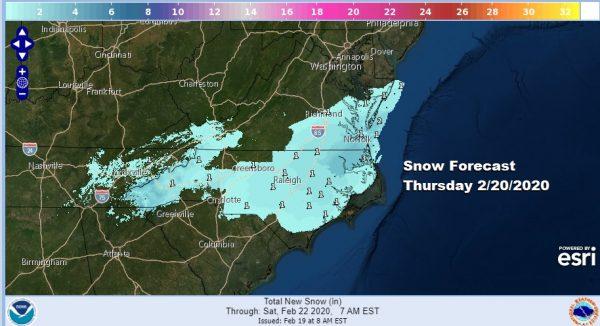 Snow Thursday North Carolina Southern Virginia Cold Dry Northeast Through Friday