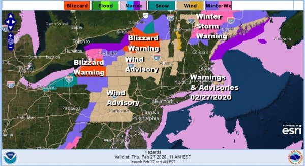 Weather Conditions Improve Winds Increase Colder Air Arrives Snowstorm Upstate
