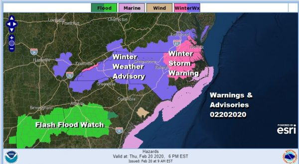 Winter Storm North Carolina Southern Virginia While Northeast is Dry Sunny & Cold
