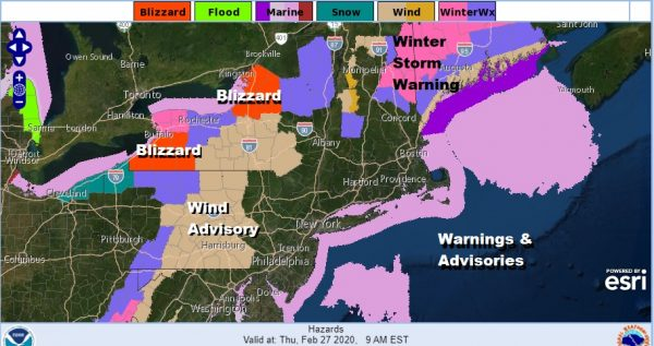 Showers Thunderstorm Possible By Morning Lake Effect Snow Storm Parts of Upstate N