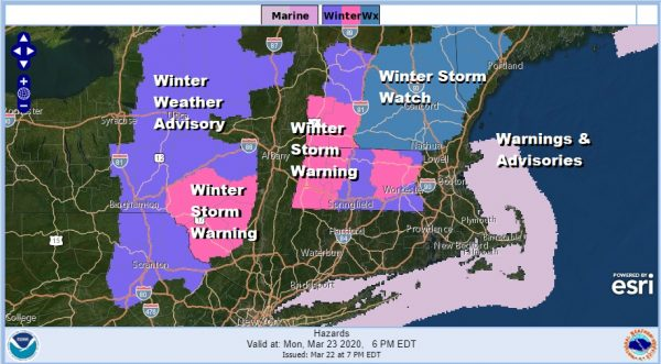 Winter Storm Warnings Catskills Berkshires Advisories NE Pennsylvania