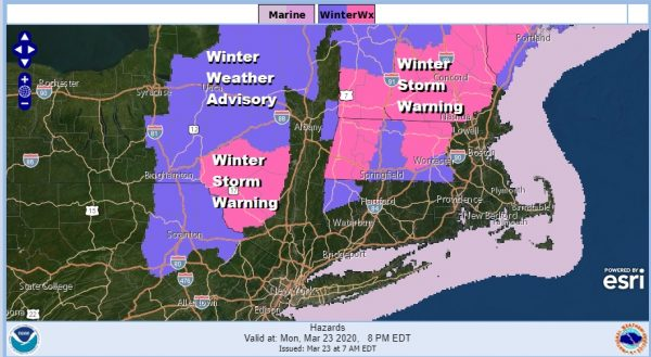 Winter Storm Warnings Catskills Berkshires Cold Rain Coast