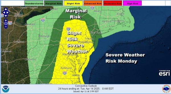 Major Storm Sunday Night Monday Severe Weather Risk Raised Northeast Mid Atlantic