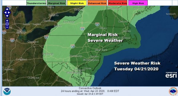 Coastal Storm Passes Offshore Severe Weather Risk Grows For Tuesday